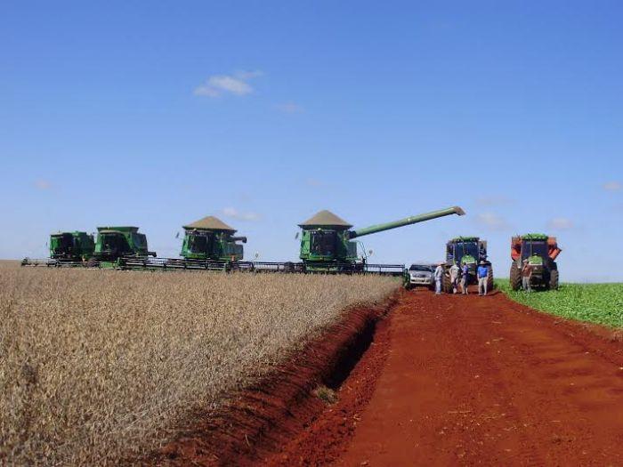 Imagem do dia - Colheita da soja em Giruá (RS), na propriedade Agropecuária Ouro Verde. Envio de Gean Bender