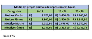 Preços dos animais de reposição em Goiás Julho/21 - IFAG